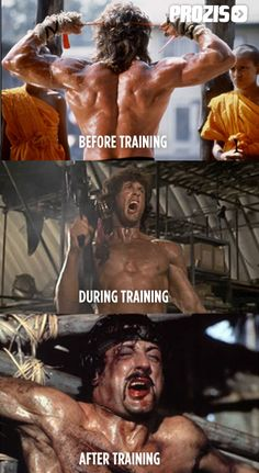 "One person to describe how I feel after completing a Shock Training workout is ""Rambo""  Sylvester Stallone #motivation #inspiration #effort #overcoming Visit www.prozis.com for more information on bodybuilding and sports nutrition"