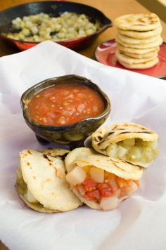 This vegan recipe for potato gorditas is easy to make! They are stuffed with potatoes in salsa verde and salsa roja.
