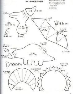 free sewing patterns for stuffed dinosaurs Felt Animal Patterns, Stuffed Animal Patterns, Felt Diy, Felt Crafts, Sewing Patterns Free, Free Sewing, Quiet Book Templates, Felt Templates, Felt Stories