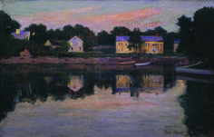 Twilight on the Ipswich Marshes (Houses on a Pond) 1920 Theodore Wendel