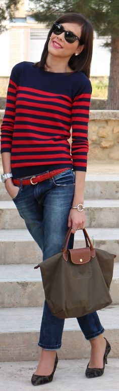 Red & navy striped sweater & jeans
