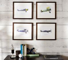 Vintage Airplane Set - Nursery Art baby boy