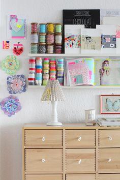 Craft Storage on IKEA RIBBA Ledges - decor8