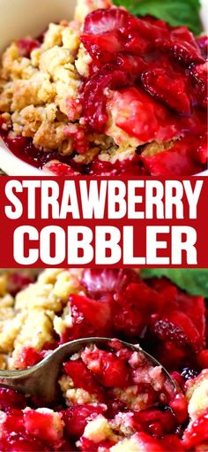 Strawberry Cobbler, easy and delicious, it doesn't get any better than that, ENJOY! recipes classic recipes easy recipes easy homemade recipes easy philadelphia recipes new york recipes no bake Mini Desserts, Strawberry Dessert Recipes, Fruit Recipes, Desert Recipes, New Recipes, Dinner Recipes, Favorite Recipes, Desserts With Strawberries Easy, Sweet Recipes