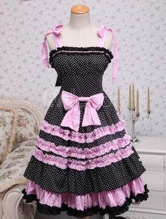 Black Pink Polka Dot Bow Cotton Sweet Lolita Dress - Milanoo.com