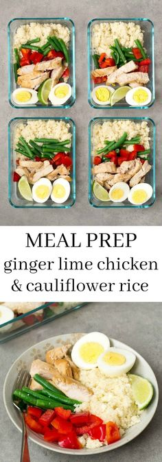This ginger lime chicken cauliflower rice bowl is a delicious make-ahead recipe . - This ginger lime chicken cauliflower rice bowl is a delicious make-ahead recipe for weekend meal pr - Paleo Meal Prep, Lunch Meal Prep, Meal Prep Bowls, Easy Meal Prep, Paleo Diet, Meal Prep Dinner Ideas, Meal Preparation, Chicken Cauliflower, Lime Chicken