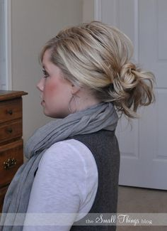 messy bun hairstyle for shoulder length hair