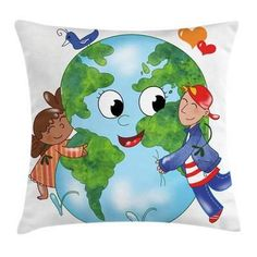 East Urban Home Earth Cute Kids Hugging Planet Square Pillow Cover East Urban Home Size: 16 x 16