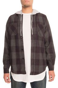Lifted Anchors The Kerr 2 Hooded Wool Flannel in Deep Purple and Ash - Large