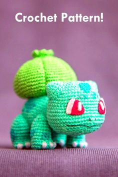 """The second toy from my """"Pokemon"""" collection is Bulbasaur! I was working on it since the release of Pokeball! And the pattern is finally here! Bulbasaur from 'Pokemon', crochet pattern Pokemon Crochet Pattern, Crochet Patterns Amigurumi, Crochet Dolls, Knitting Patterns, Chat Crochet, Crochet Mignon, Tutorial Amigurumi, Pokemon Craft, Pokemon Pokemon"""