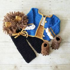 259bdeda089 Crochet Beast Costume Beauty and the Beast Hat Bonnet Pants Shirt Shoes Infant  Newborn Baby Photography Photo Prop Baby Shower Gift Present