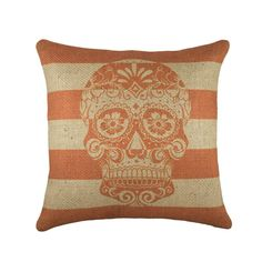Day of the Dead Burlap Pillow Cover Sugar Skull by TheWatsonShop, $50.00