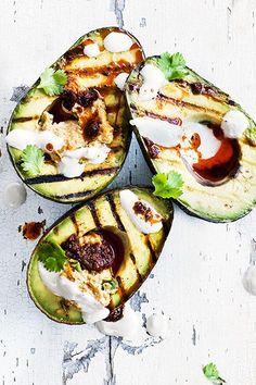 Grilled Avocado Halves With Harissa Hummus
