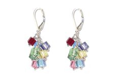 Swarovski crystal cube charm earrings by YUMI CHEN