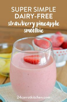 this amazing strawberry pineapple smoothie in under 5 minutes! Dairy-Free, gluten-free, Paleo, vegan and grain-free! Plus, refined sugar-free! Lactose Free Smoothies, Lactose Free Diet, Gluten Free, Dairy Free Smoothie, Strawberry Pineapple Smoothie, Blackberry Smoothie, Almond Joy, Cacciatore, Magic Bullet
