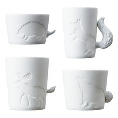 Mugtail Hedgehog, Moose, Fox and Bear Mug set