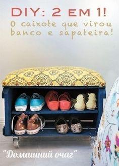 Два в одном. Полочка для обуви и сидушка для переобувания на колесиках из деревянного ящика