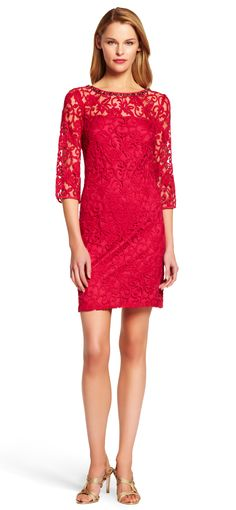 Embellished Lace Shift Dress - Adrianna Papell