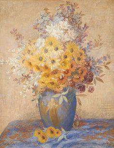 Vase aux bacchantes fleuri by Constant Montald