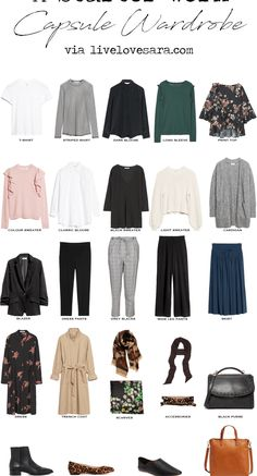 A Starter Work Capsule Wardrobe. Starter Work Capsule Wardrobe via livelovesara. When it comes to work, capsule wardrobes are your friend. It helps you to have a nice, curated collection of work appropriate pieces that streamline Capsule Wardrobe Work, Capsule Outfits, Fashion Capsule, Wardrobe Basics, Work Wardrobe Essentials, Wardrobe Staples, Work Outfits, Simple Wardrobe, Office Wardrobe
