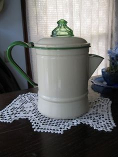 Vintage-Cream-and-Green-Enamelware-Coffee-Pot-With-Green-Depression-Glass