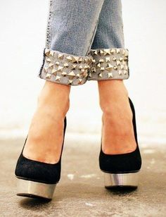 Give long jeans a cuff... and then add studs to complete the look.
