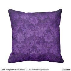 Dark Purple Damask Floral Decorative Pattern