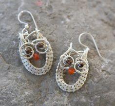 Wire wrapped owl earrings OOAK by JanCramer on Etsy, $38.00