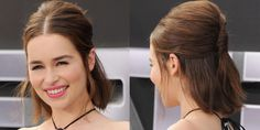 Who: Emilia Clarke What: A Casual French Twist How-To: Make the traditional French twist feel casual (and work with a new bob) by using it to decorate and secure a half-up style. Clarke's modern middle part offsets big, Bardot volume at the crown. Editor's Pick: Kérastase V.I.P. Volumizing and Texturizing Spray, $37, kerastase-usa.com. - HarpersBAZAAR.com
