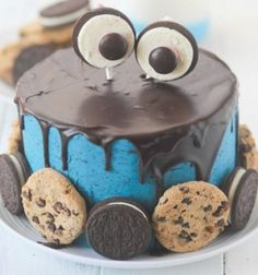 Oreo And Chocolate Chip Cookies Birthday Cake With Name.Chocolate Cake With Name.Have a Joyful Birthday Special Chocolate Name Cake Pics. Cookies Et Biscuits, Cake Cookies, Acorn Cookies, Food Cakes, Cupcake Cakes, Cookie Monster Cakes, Cookies And Cream Frosting, Cake Recipes, Dessert Recipes