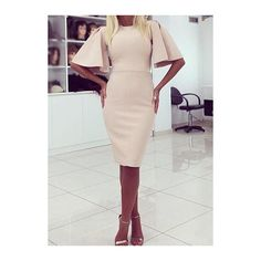 Rotita Round Neck Flare Sleeve Bodycon Dress (26 AUD) ❤ liked on Polyvore featuring dresses, apricot, print bodycon dress, sleeve bodycon dress, knee-length dresses, elbow sleeve dress and flared sleeve dress