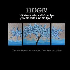 blue large 3 canvas cherry blossom painting big by SheerJoy, $350.00