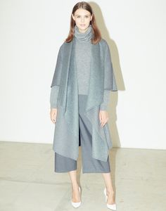 LE CIEL BLEU Blanket Flare Coat, Tasmania Neck-Warmer Knit, and Cropped Baggy Pants