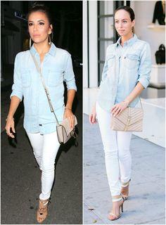 Inspired By: Eva Longoria's Denim Shirt & White Jeans, celebrity style