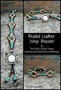 Southwestern inspired beaded leather wrap bracelet by Two Chicks Custom Designs Beaded Wrap Bracelets, Leather Bracelets, Necklaces, Beaded Leather Wraps, Southwestern Jewelry, Anklets, Custom Design, Jewelry Making, Tutorials