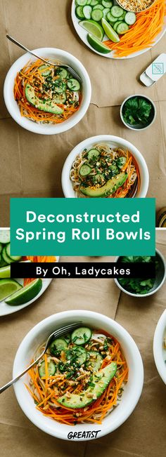 3. Deconstructed Spring Roll Bowls #vegan #dinner #recipes http://greatist.com/eat/savory-vegan-recipes-even-meat-eaters-will-love