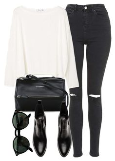 """""""Untitled #7106"""" by laurenmboot ❤ liked on Polyvore featuring Topshop, MANGO, Givenchy and Ray-Ban"""