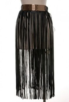 Great black fringe skirt made out of black faux leather. Perfect skirt for a party !  Skirt comes with gold belt . one size ...fits s,m,large