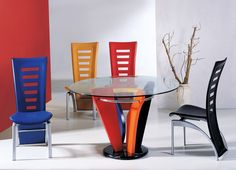 Funky Dining Room Table and Chairs - House Ideas Decorating Folding Dining Chairs, Colored Dining Chairs, Dining Room Colors, Dining Room Design, Contemporary Dining Room Sets, Modern Dining Room Tables, Glass Round Dining Table, Round Glass, Room Chairs