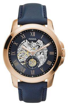 Fossil Herenhorloge 'Grant' Automaat ME3054. Prachtig horloge met een rosé-goudkleurige kast en een mooie diepblauwe band. Dit horloge krijgt zijn energoe door de beweging van de pols die een veer opwindt. https://www.timefortrends.nl/horloges/fossil/heren.html