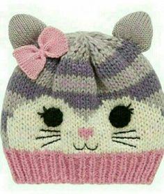 33 Ideas crochet cat beanie pattern free knitting for 2019 Kids Knitting Patterns, Knitting For Kids, Knitting Projects, Crochet Patterns, Free Knitting, Knitting Charts, Stitch Patterns, Diy Finger Knitting, Baby Hats Knitting