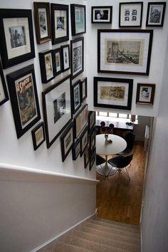 Stairway Photo Wall Decoration. http://hative.com/creative-photo-frame-display-ideas/
