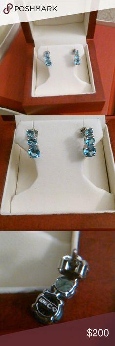 10k Aquamarine earrings 10kt white gold triple Aquamarine drop earrings.  Trade value double my asking price. Jewelry Earrings