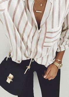 Striped Button Pocket Shirt Without Necklace #necklace #jewelry #jewellery #shopping