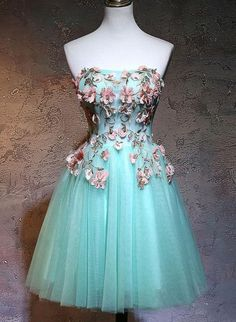 CUTE GREEN TULLE LACE APPLIQUE SHORT PROM DRESS P02060 – shinydress