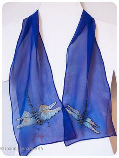 "Hand-painted silk scarf. Dragonfly Scarf. SALE. Handpainted silk scarves. Hand-painted silk scarf 8""x52"" chiffon. Hand painted silk scarf by SirenSilks on Etsy"