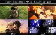 "The Black and Blonde ""Did Nothing Wrong"" Pair, text, Armin, Eren, Attack on Titan, Hide, Kaneki, dark hair, human, Tokyo Ghoul, Mika, Yuu, Seraph of the End, Kai, Kei, Ajin, sad, crossover, smiling, laughing; Anime"