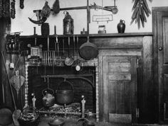"Colonial fireplace in Salem, Massachusetts as it was in 1750. ""everything handy"""