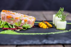 Ham Hock Terrine with classic piccalilli Ham Hock Terrine, Piccalilli, Main Meals, Salmon Burgers, Starters, Pickles, Bacon, Plating, Food And Drink