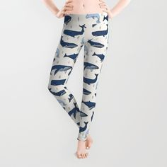 """Whales"" Leggings by Andrea Lauren Design on Society6."
